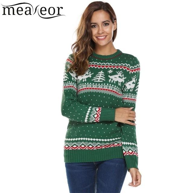 f388189f60 Meaneor Women Christmas Sweaters Deer Print Casual Long Sleeve Autumn O  Neck Slim Pullover Warm Sweater Feminino Winter Tops