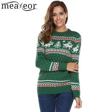 Meaneor Women Christmas Sweaters Deer Print Casual Long Sleeve Autumn O Neck Slim Pullover Warm Sweater Feminino Winter Tops