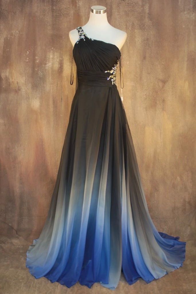 2016 New Arrival Custom Made One-Shoulder Sleeveless Handmade Crystal Pleat Party Gown Homecoming Charming Blue   Evening     Dresses