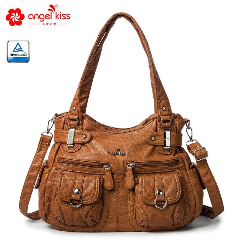 Angel Kiss Brand Skin-friendly Top Handle Satchel Shoulder Bag Washed PU Leather Tote Handbag Women Wallet Purse