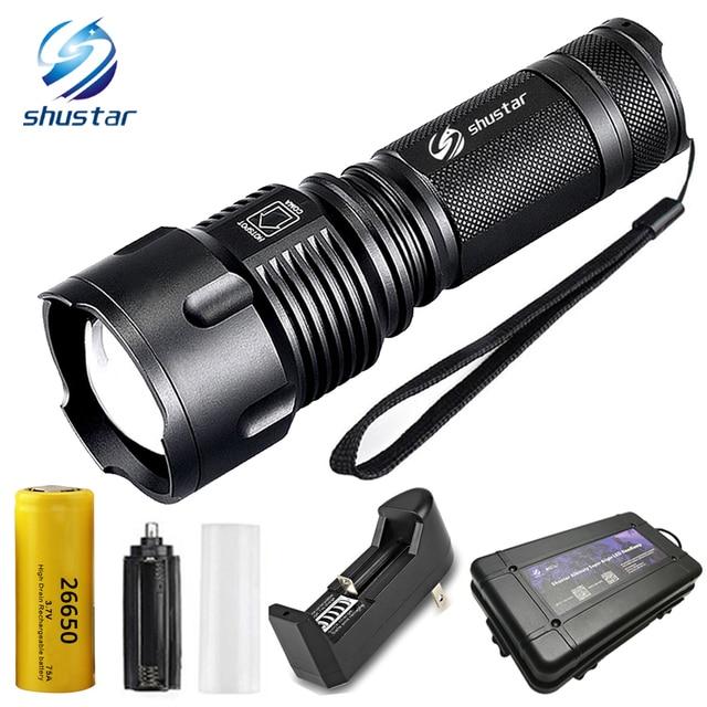 Lampe torche puissante et tactique, étanche, zoom lampe de poche LED, T6 lampe à Led, pour piles rechargeables 26650 ou AA