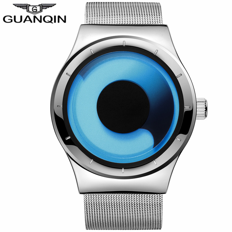 GUANQIN Mens Watches Male Brand Luxury Quartz Watch Men Stainless Steel Mesh Band Fashion Casual Wristwatch relogio masculino fashion bosck casual quartz watch men diamonds brand luxury wrist watches stainless steel relogio masculino silver watch mens