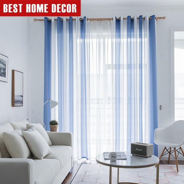 Elka simplicité rayé moderne Tulle rideaux pour salon chambre ...