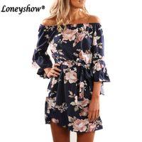 0144faa29362 Loneyshow Women sweet flare sleeve leaves print dress slash neck ladies  vintage casual brand mini dresses vestidos $0.0