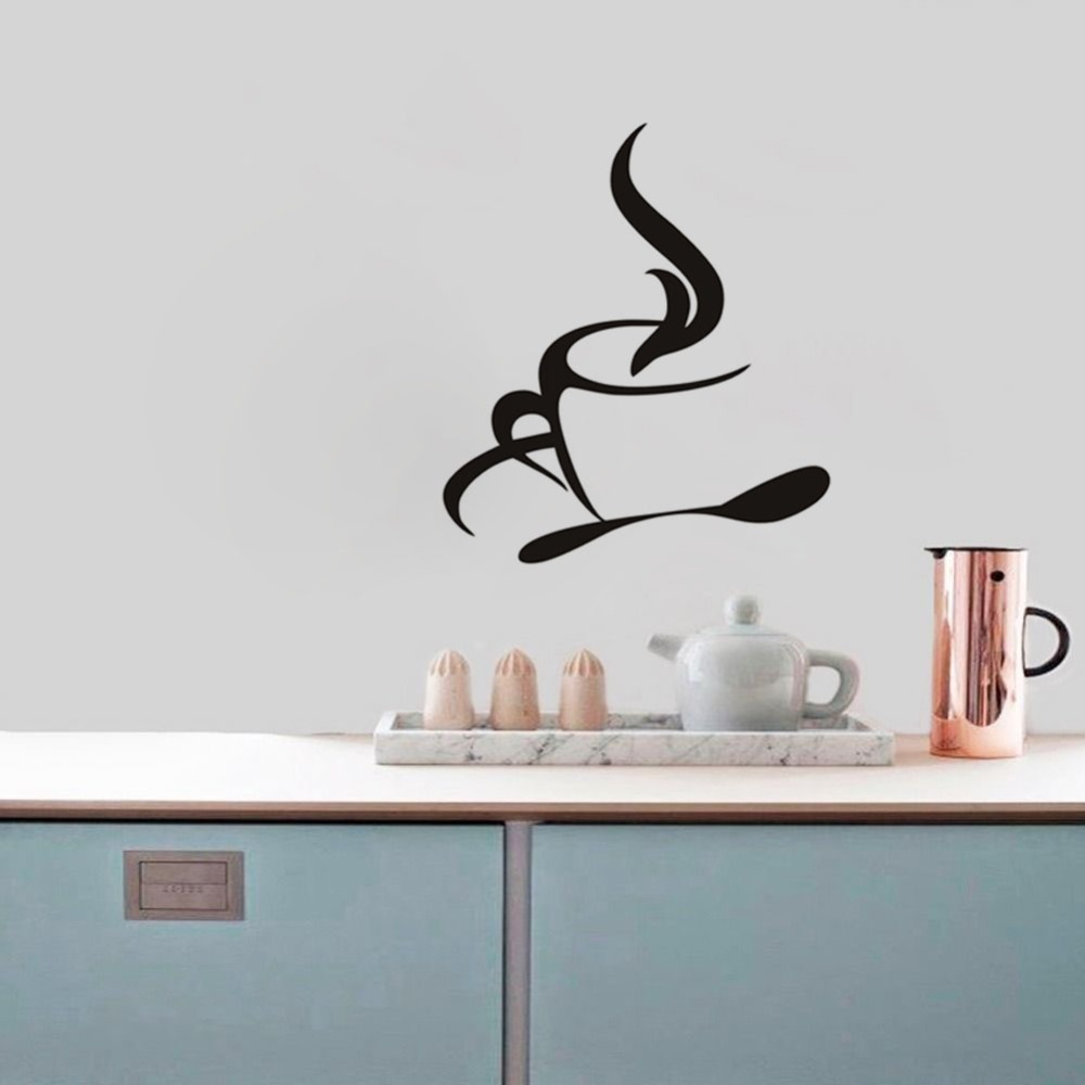 Coffee Cup Kitchen Wall Stickers Home Decor Living Room Kitchen Bedroom Decor Vinyl Removable Waterproof Decals Home Decoration-in Wall Stickers from ...