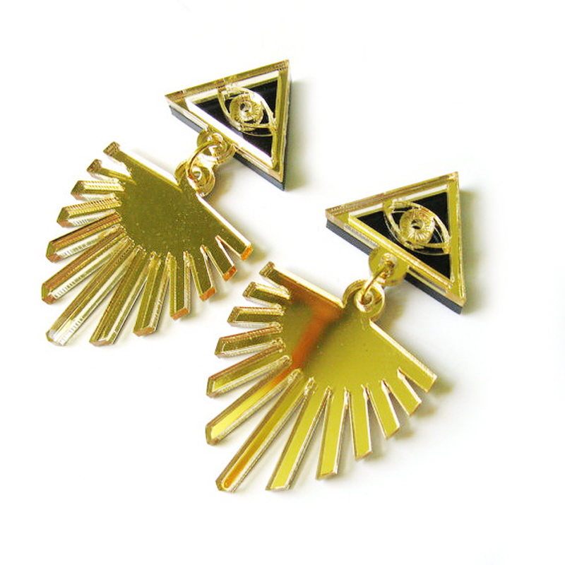 Evil Eye Gold Mirror Acrylic Fashin Earrings-in Drop Earrings from ...