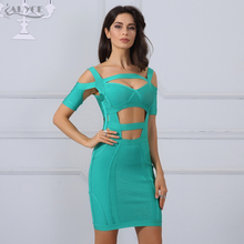 2017 Summer Women Bodycon Bandage Dress Blue straps V-Neck hollow out Short Sleeve sexy Celebrity Runway Dress Casual Vestidos