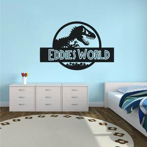 Boys Room Decor Jurassic World Wall Sticker Custom Name Jurassic World Vinyl Wall Decal Dinosaur Style Wallpaper Wall Art AY1446