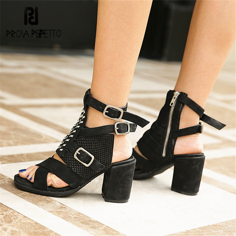 Prova Perfetto Sexy Black Women Summer Gladiator Sandals Chunky High Heel Dress Shoes Woman Soft Leather Women Pumps Stiletto prova perfetto hollow out ladies gladiator sandals women platform pumps rivets chunky high heel shoes woman sandalias mujer