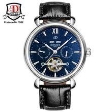 2017 Nueva Moda de Lujo Del Reloj Automático Fecha Reloj del Calendario de Los Hombres BINKADA Relogio masculino Reloj Mecánico de Cuero
