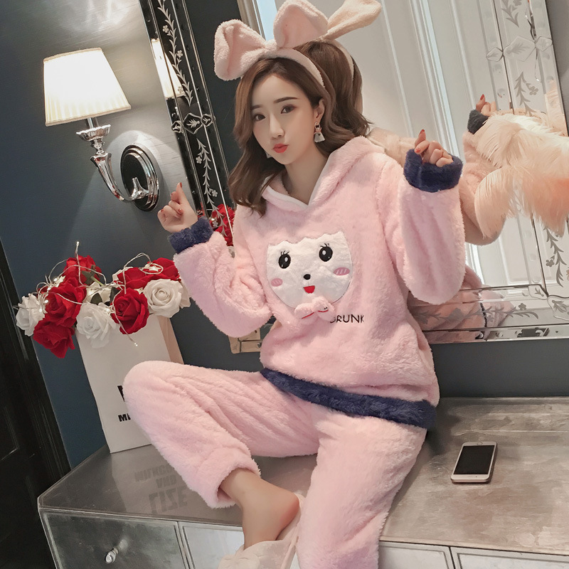 Winter Women Pajama Flannel Sleepwear Long Sleeves Hot Pajamas For Women Velvet Pajama Women Soft Clothing 70