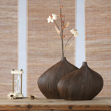 brown modern resin creative Retro flowers vase pot vintage statue home decor crafts room decoration office figurines
