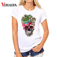 Women T-shirt Floral Skull Graphic Tee 3D Print T Shirt ulzzang White T-shirts Plus Size Lady Pullover Short Sleeve Tops men skull and floral print tee