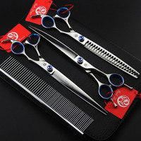 Professional High Quality Japan 440C Stainless Steel 8inch Straight Thinning Curved Scissors Set With Comb Case