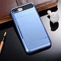 Kry duro cajas del teléfono de lujo para el iphone 5 5s se 6 6 s más case para iphone 7 plus case tarjeta de almacenamiento de la tarjeta deslizante armadura