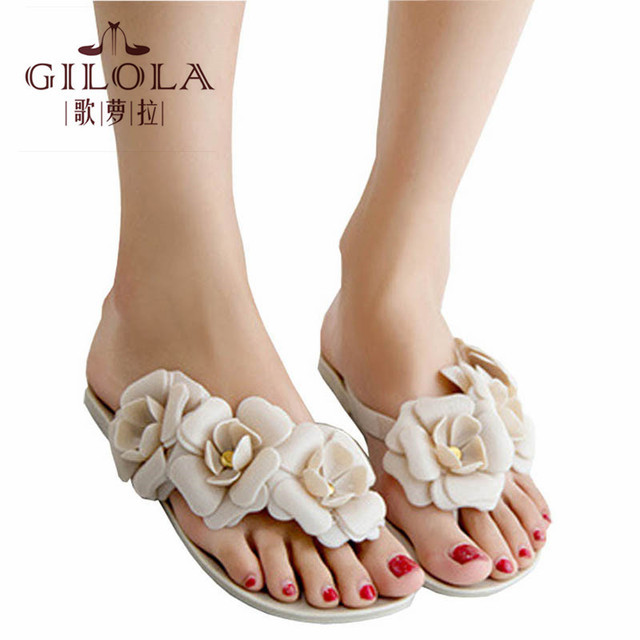1bac92f57f720 Summer Slippers Women Beach Flip Flops Flat Rhinestone Flowers Flip Flops  Beach Slippers Sandalias Mujer Woman  Y0703166X