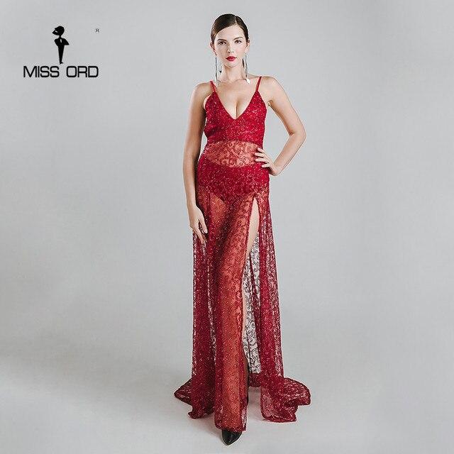 Missord 2019 Sexy halter V-neck split party dress sequin maxi dress FT5131-2 058ba93e3