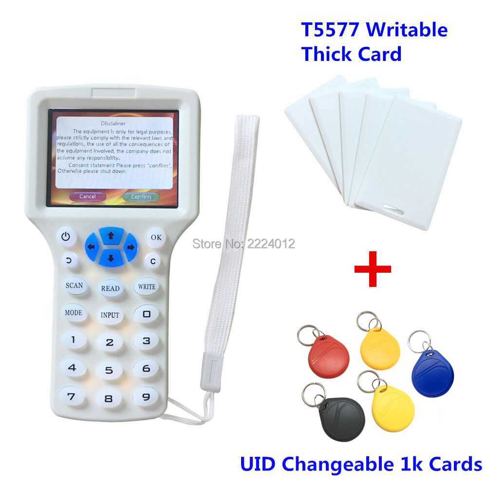 Handheld 125khz Rfid Reader Writer Duplicator 10 Frequency Programer H ID Rfid Copier+5pcs T5577 Card+5pcs 13.56mhz UID Rfid Tag