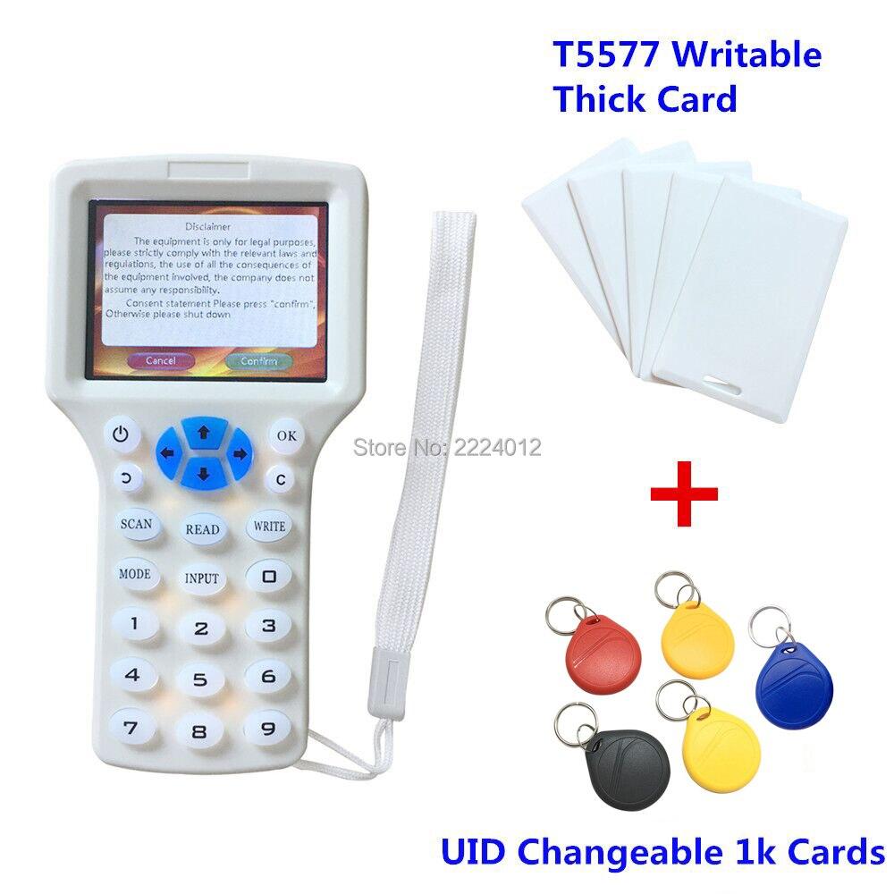 Portable 125 khz rfid lecteur duplicateur 10 Fréquence Programmeur H ID rfid copieur + 5 pcs T5577 Carte + 5 pcs 13.56 mhz IDE Étiquette rfid