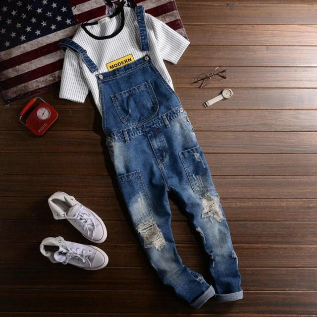jeans men 2018 Mens rompers male denim jumpsuit denim overalls men jumpsuit male CC454