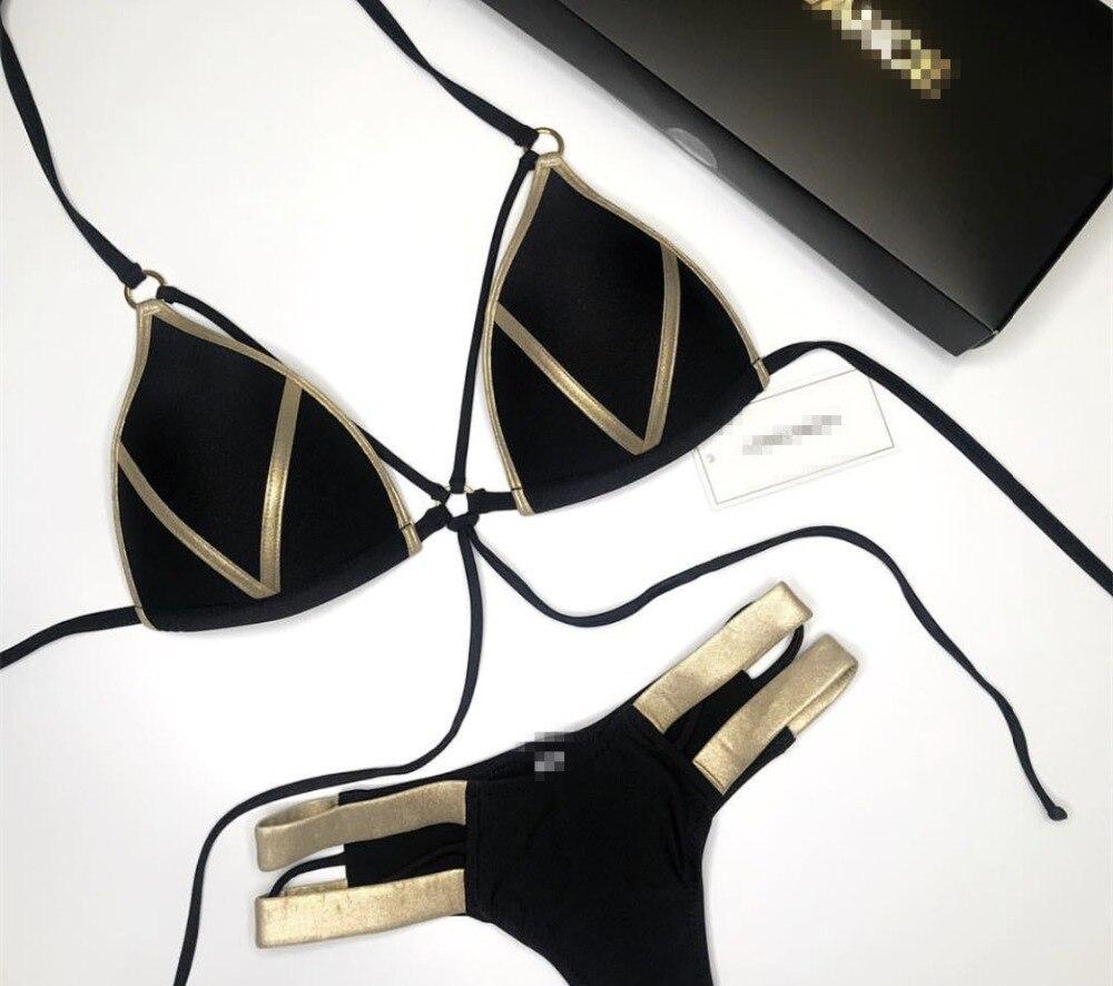 Bikini Delle Donne Nero Dalla Fasciatura del Costume Da Bagno 2018 Sexy Push Up Costumi Da Bagno Delle Donne A Vita Bassa Bikini Costume Da Bagno Plus Size Costumi Da Bagno QD99