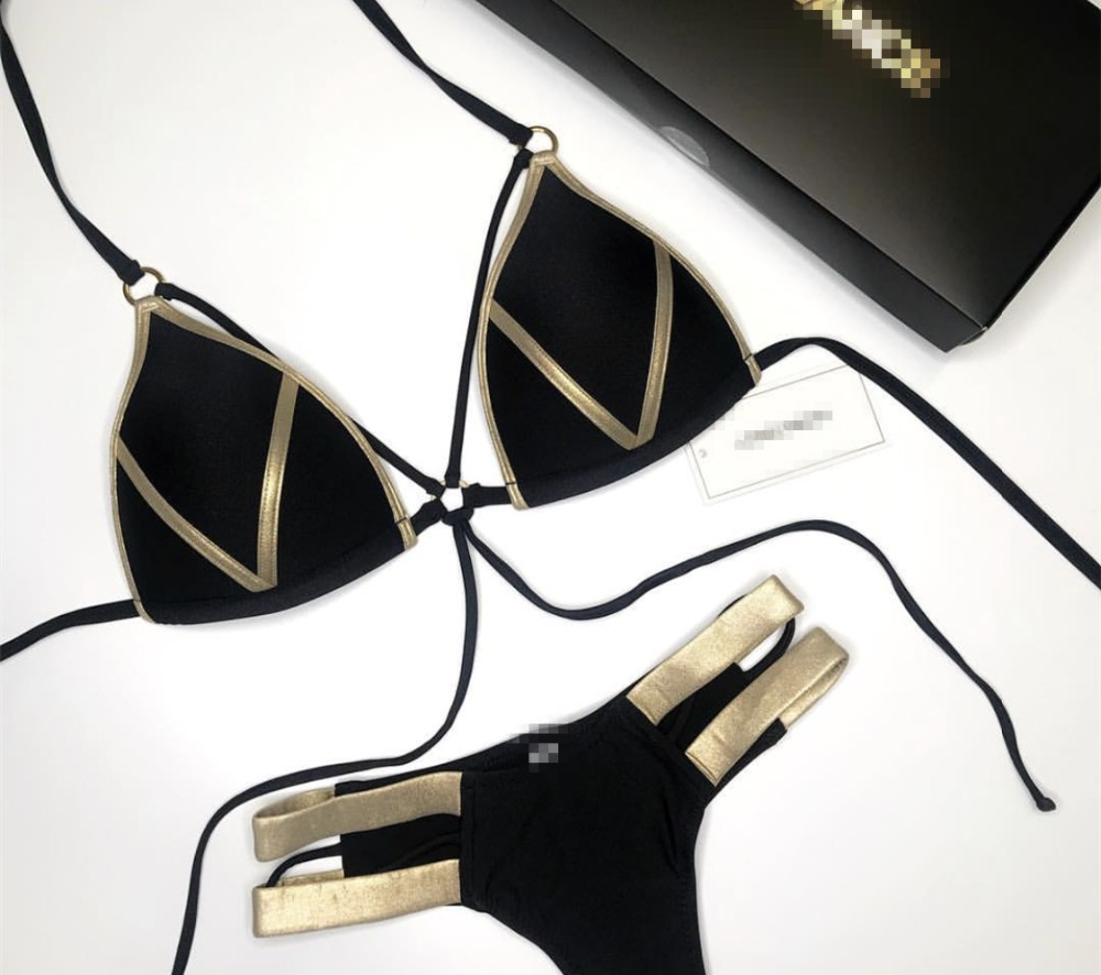 Bikinis Frauen Schwarz Bandage Badeanzug 2018 Sexy Push Up Bademode Frauen Niedrigen Taille Bikinis Anzug Schwimmen Plus Size Bademode QD99