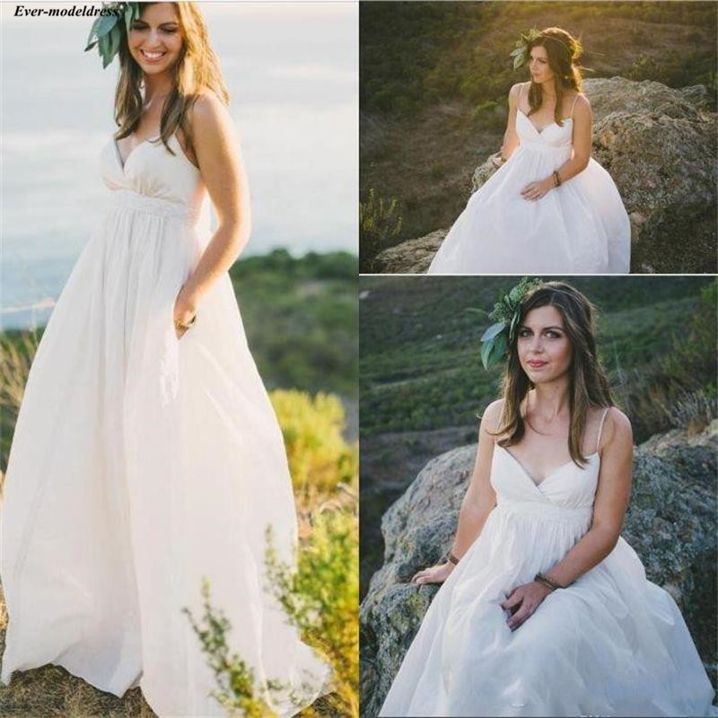 Bohemian Maternity A Line Beach Wedding Dresses 2019 Spaghetti Straps Country Wedding Gowns With Pockets Summer Bridal Dress