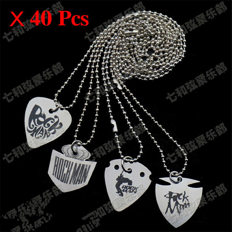 40 Pcs Stainless steel Guitar Picks Playing Heavy Metal Guitar Picks With Pendant Necklace for 4 type choose