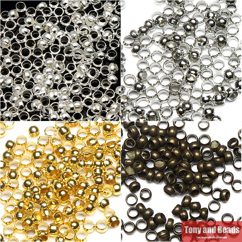 Free Shipping 3000Pcs / Lot 2mm Dia Pick 4 Colors Jewelry Findings Smooth Ball Crimps Beads