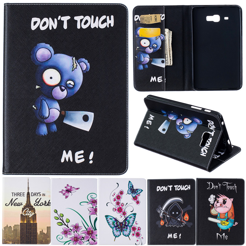Cartoon Leather Cover for Samsung Galaxy Tab J 7.0 T285DY Tablet Case Animal Bear Pig Butterfly Flower Wind chime Iron Tower