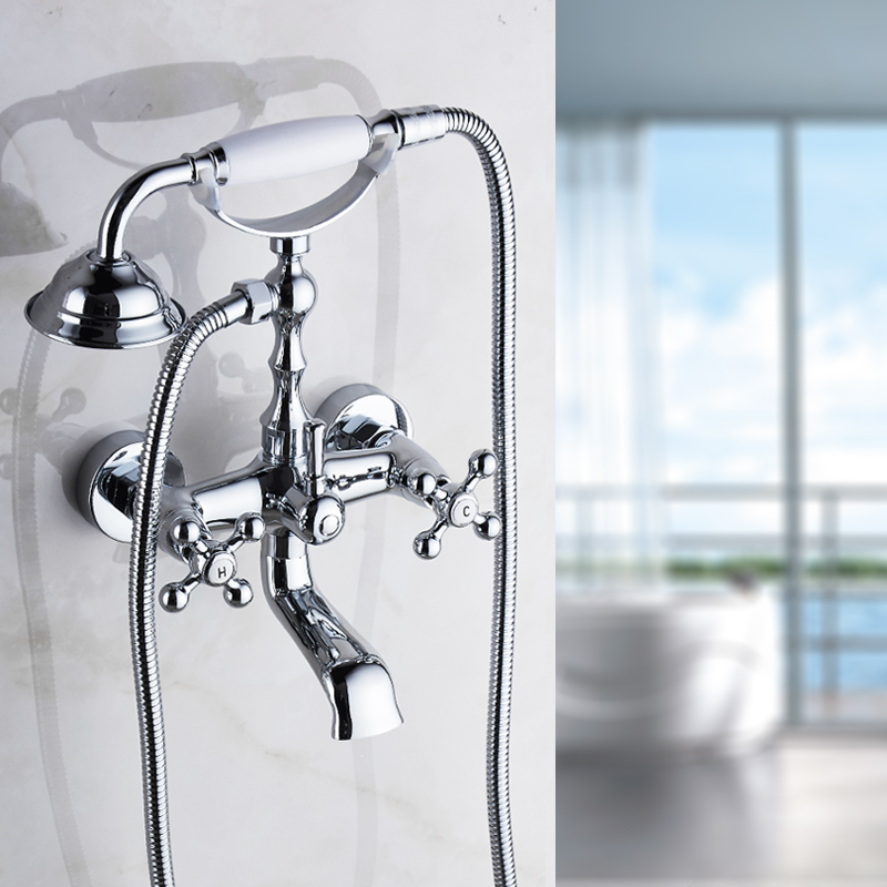 Shower Equipment Shower Faucets Silver Bathtub Faucet Brass Chrome Wall Mounted Rain Shower Faucet Hand Held 2 Handle Luxury Bathroom Crane Tap Set