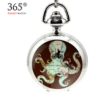 2016 New Octopus Map White Steel Colored Image Enamel Pocket Watch