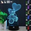 Lâmpada Humor HUI YUAN 3D animal bonito teddy bear Amor Luz balão de luz visual 3d botão de toque night light presente de Natal Das Crianças