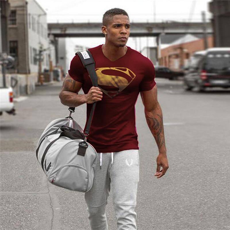 Hot Sale Superman Printed   T  -  shirts   Men Compression   Shirts   Slim Fit Compression Top Male   T  -  shirts   Men Short Raglan sleeve Fitness