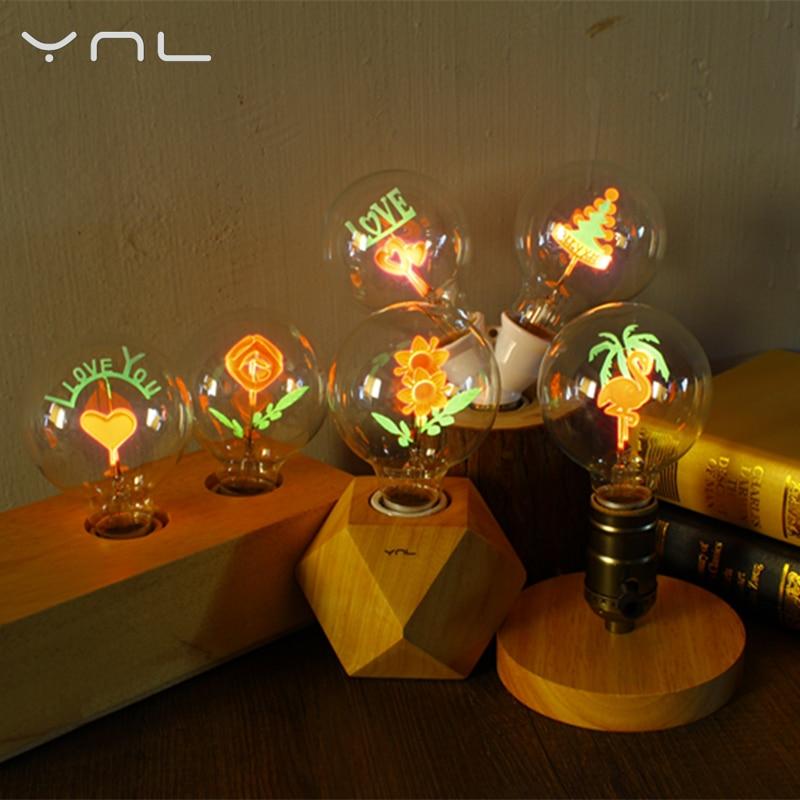 YNL Ampoule Vintage Edison Bulb E27 G80 Flower Filament Bulb Indoor Lamp 220V Incandescent Bulb Home Decor Retro Edison Lamp