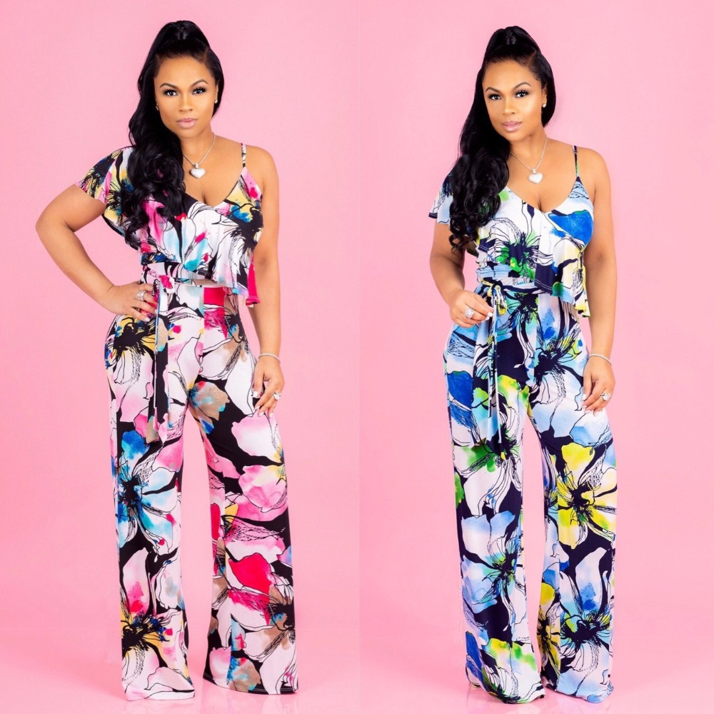 rompers womens jumpsuit 2018 summer print jumpsuits casual women jumpsuit sexy loose overalls womens clothing