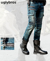 Fashion straight uglybros MOTORPOOL UBS11 jeans blue men's motorcycle trousers protection motorcycle jeans trousers