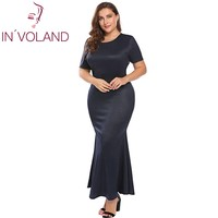 IN VOLAND Large Size Women Pencil Dress Autumn Short Sleeve Draped Back Shinny Long Maxi Party