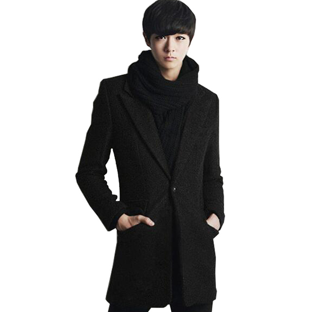 2016 Nuevos Hombres Hombres Gabardina Solo Pecho Estilo Largo Trench Coat de Los Hombres Prendas de Abrigo Moda Cazadora de Los Hombres de Tamaño M-3XL