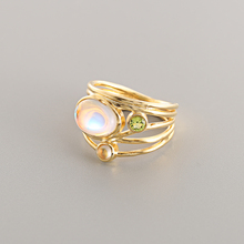 CANNER Fashion Unique Gold Moonstone Aqua Blue Shell Ring Wedding Jewelry Women Gifts Wholesale R4