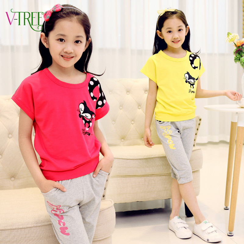 2016 teenage Girls clothing sets summer style baby girls sports suit set clothing children outerwear coat tracksuit 4-12 year