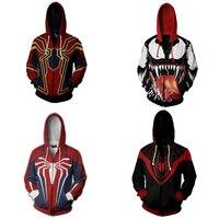 Spiderman Cosplay Costume Hoodie Venom Spider Man Avengers PS4 Sweatshirt Jacket S 3XL