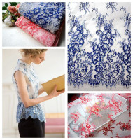 High Quality Beautiful Presser Eyelashes Lace Dress Light Garment Red Lace Fabric Garment Dress Home Decoration