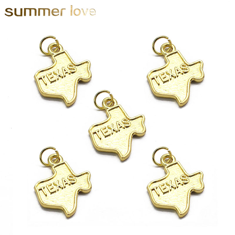 10 Pieces/Lot Gold Color 3D Texas America US State Map Charm Accessory Supplies For Alloy DIY Jewelry Pendant wholesale