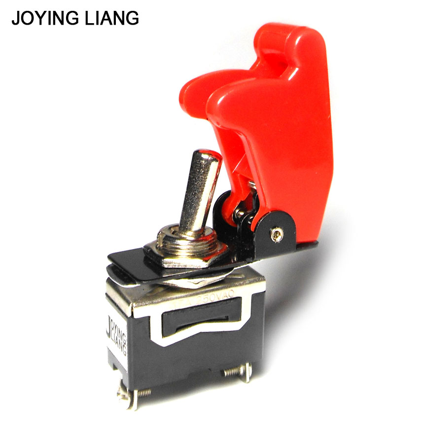 Joying Liang Car Switch Racing Car Switch with Protective Cover 12V/24V/110V/220V 2-feet ON/OFF Toggle Switch and Cap 3x 12v switch car racing on off aircraft type red led toggle switch control red flip cover low price