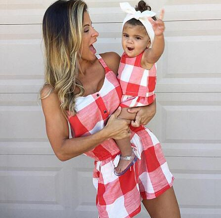 Plaid Overall Pants Mother Daughter Dresses Family Look One-piece Mommy And Me Matching Clothes Mom Mum Baby Girls Dress Outfits