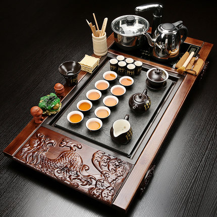 Kung Fu Purple Sand Tea set Teapot Teacups Ceramic Set Simple Household Solid Wood Tea Tray Automatic Kettle Teatable