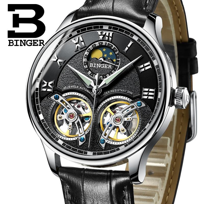 2017 Mechanical Men font b Watches b font Binger Role Luxury Brand Skeleton Wrist Sapphire font