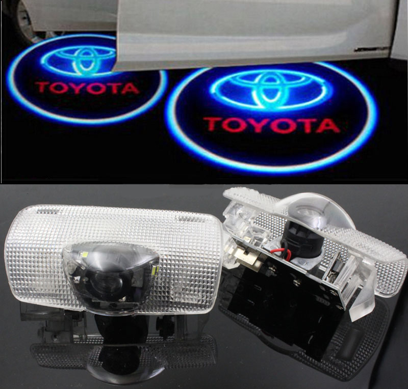 LED Car Door Welcome Light Laser Shadow led Lighting Projector For Toyota prius corolla prado highlander Reiz Land cruiser 2x led car door welcome light for toyota corolla emblem logo projector lamp for toyota corolla spoiler estate levin coupe saloon