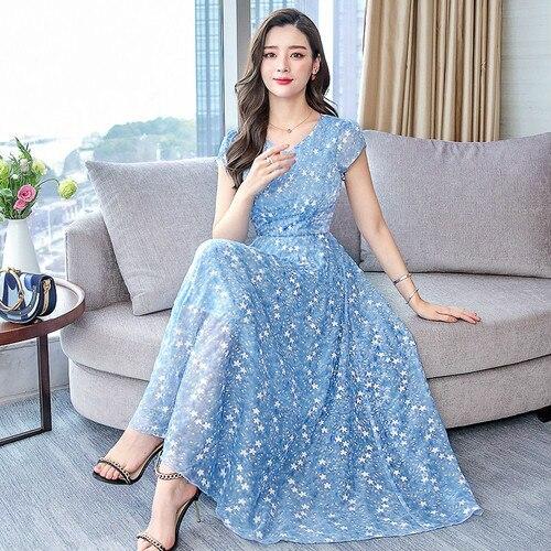 cfae2187a7d36f6 Весеннее шифоновое модное женское чистое и легкое платье 2019 новое летнее  с коротким рукавом Женская рабочая одежда тонкие элегантные темпе.